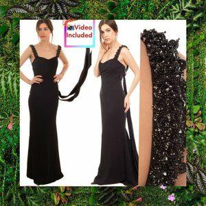 $1,100 NWT BADGLEY MISCHKA Black Trumpet Gown 16